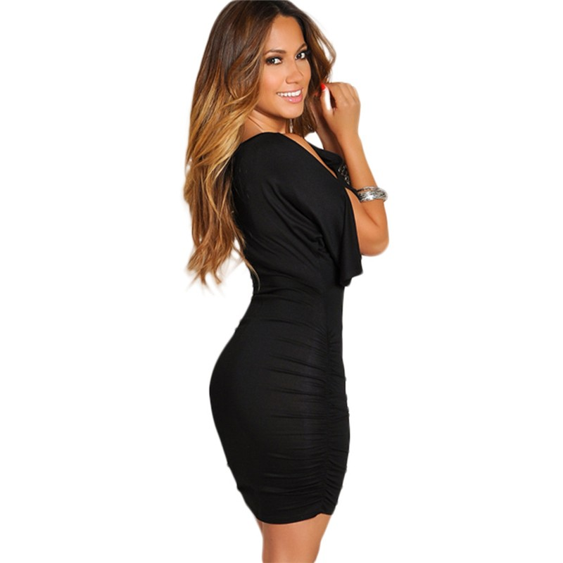 Front Keyhole Cold Shoulder Short Black Jersey Plus Size Dress For Women