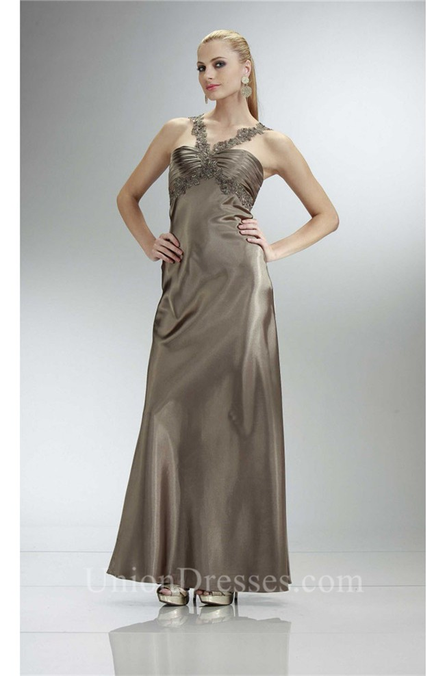 Glamorous Sheath Long Light Brown Silk Evening Dress With Lace Straps