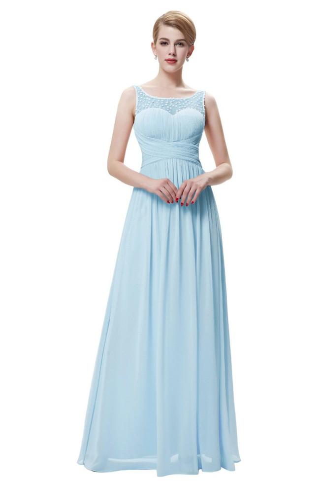 Long Beaded Sleeveless Chiffon Prom Dress