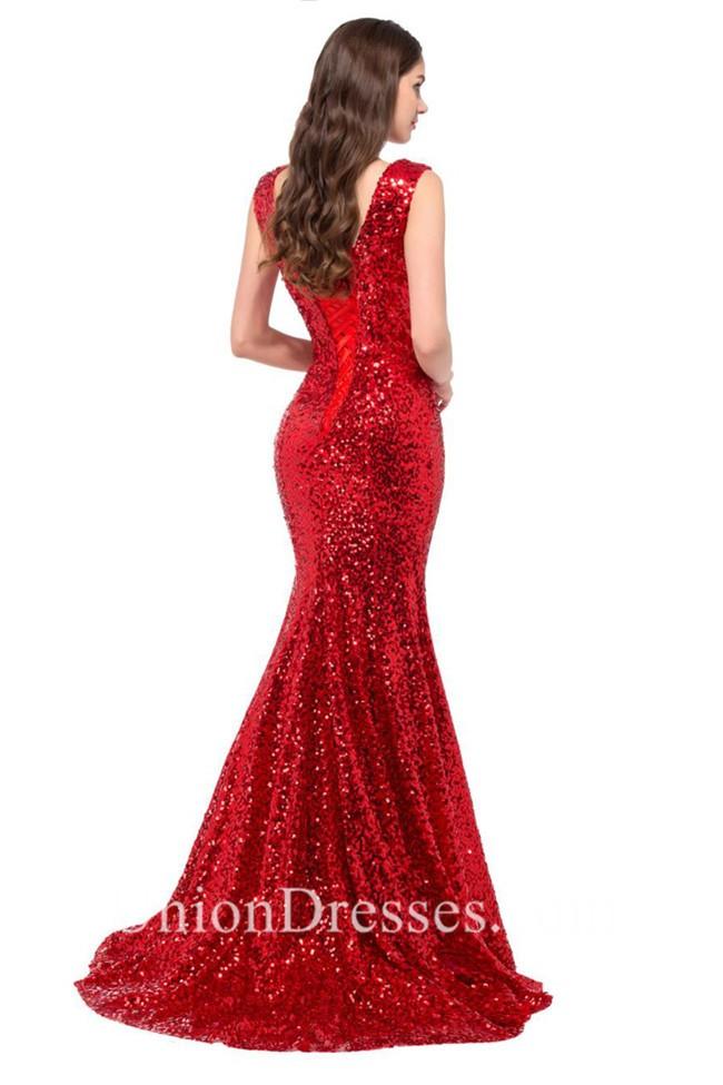 f5879c48f5 Glitter Mermaid V Neck Sleeveless Red Sequin Prom Dress Corset Back  lightbox moreview
