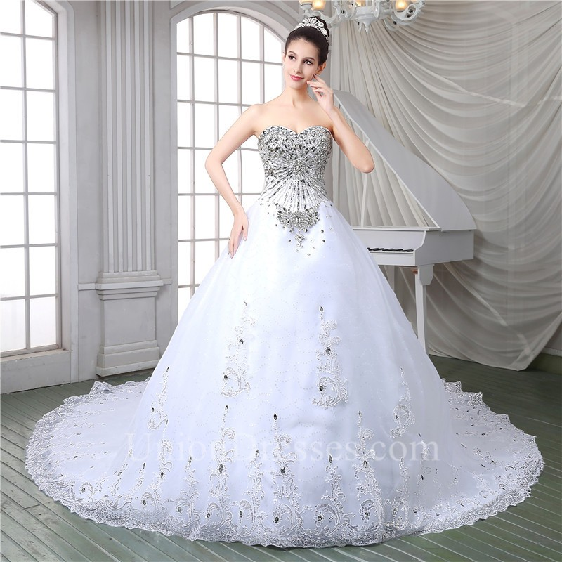 75b61471c326 lightbox moreview · Gorgeous Ball Gown Strapless Corset Back Tulle Lace  Crystal Beaded Wedding Dress With Long Train lightbox moreview