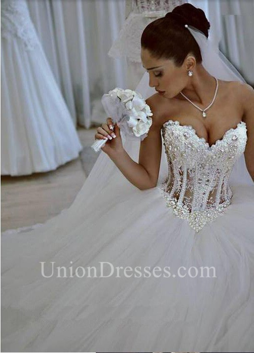 Gorgeous Ball Gown Sweetheart See Through Tulle Pearl Beaded Corset ...