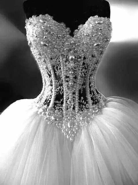 Gorgeous ball gown sweetheart see through tulle pearl for See through corset wedding dresses
