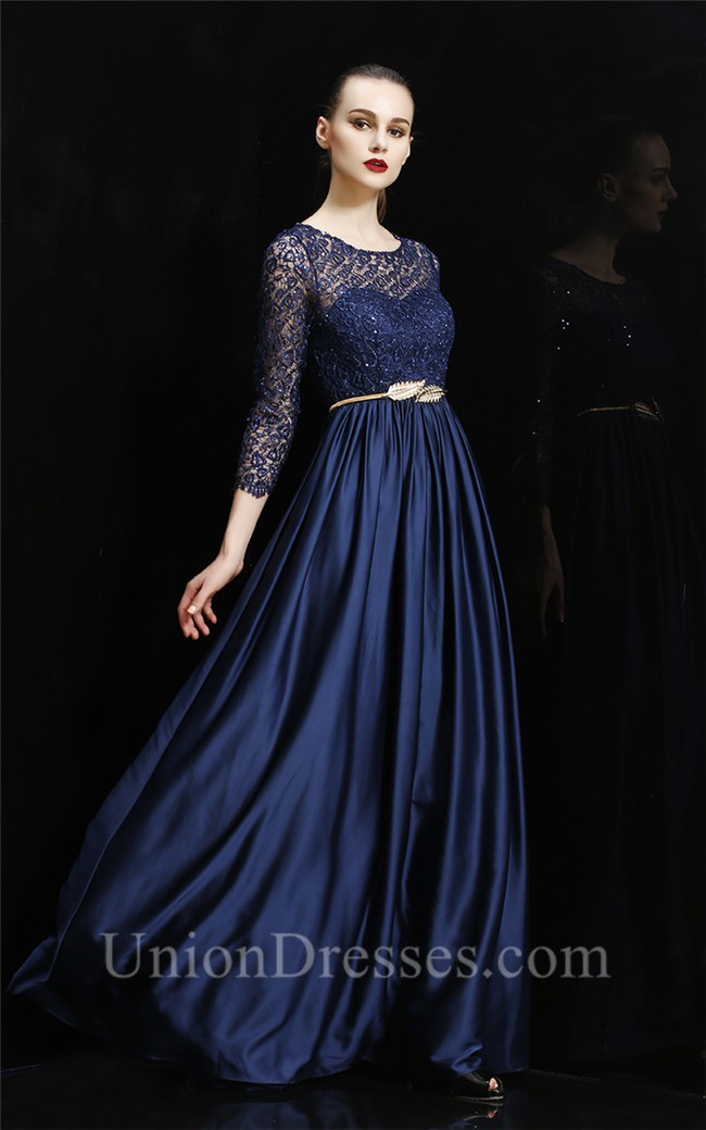 Gorgeous Boat Neck Long Navy Blue Silk Lace Sleeve Evening
