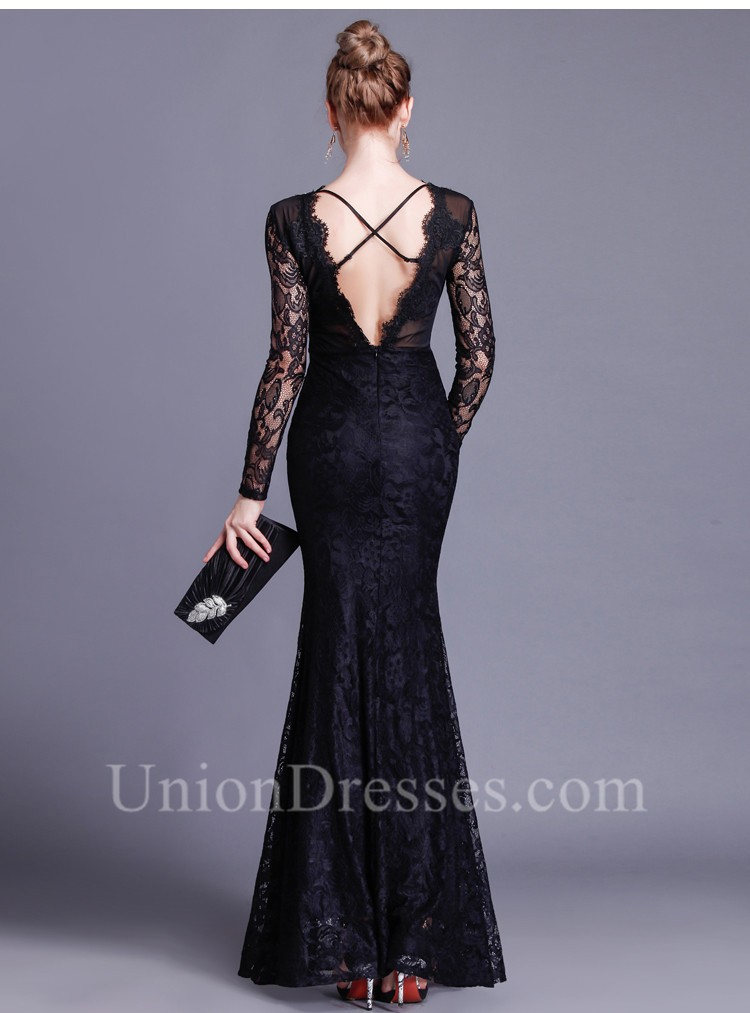 8d7a690fd1 Gorgeous Mermaid Open Back Long Sleeve Black Lace Beaded Special Occasion  Evening Dress lightbox moreview · lightbox moreview · lightbox moreview