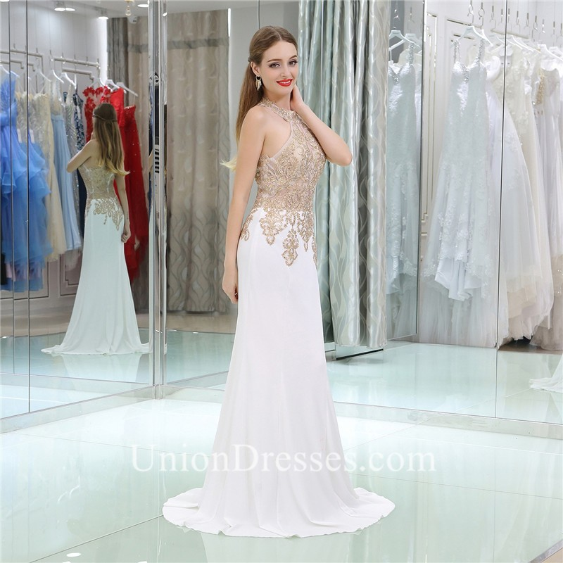 Gorgeous Sheath Halter White Satin Gold Lace Formal Occasion Prom Dress