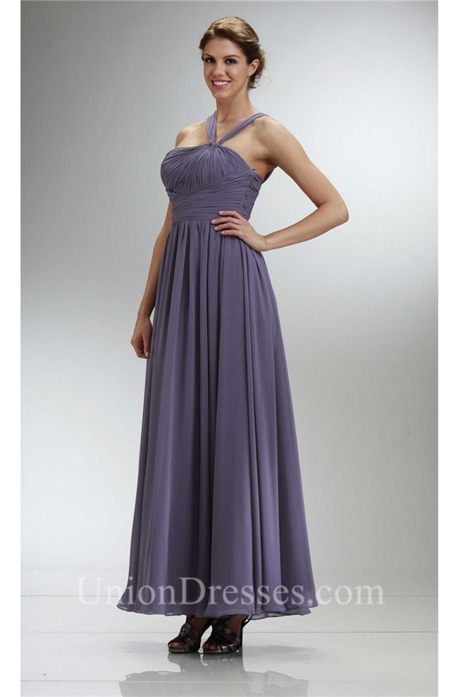 Graceful Long Charcoal Gray Chiffon Ruched Bridesmaid Dress With Straps
