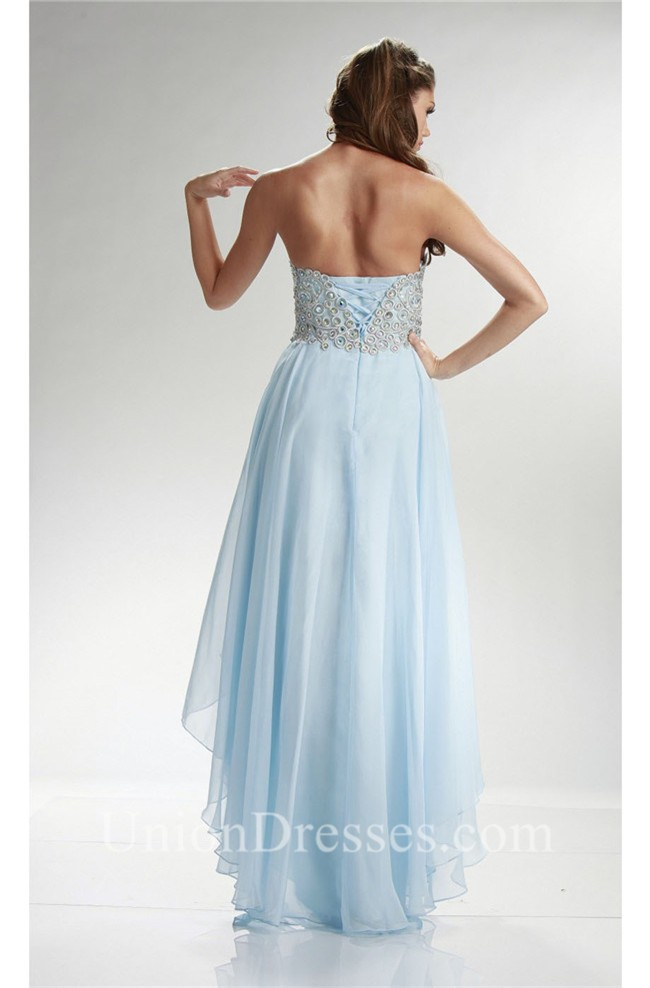 6017709dc683 Graceful Sweetheart High Low Light Blue Chiffon Beaded Corset Prom Dress  Corset Back lightbox moreview