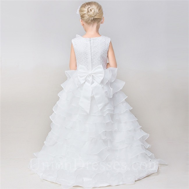 High low organza ruffle tiered little girl wedding dress for Tiered ruffle wedding dress