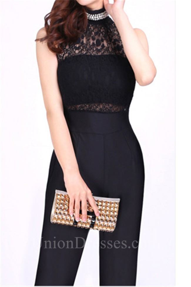 dd82d42cc6c7 High Neck Black Jersey Lace Beaded Formal Occasion Evening Jumpsuit  lightbox moreview · lightbox moreview · lightbox moreview · lightbox  moreview