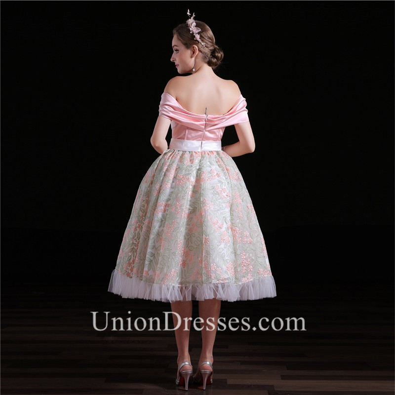 Lovely Ball Gown Off The Shoulder Tea Length Floral Lace Prom Dress