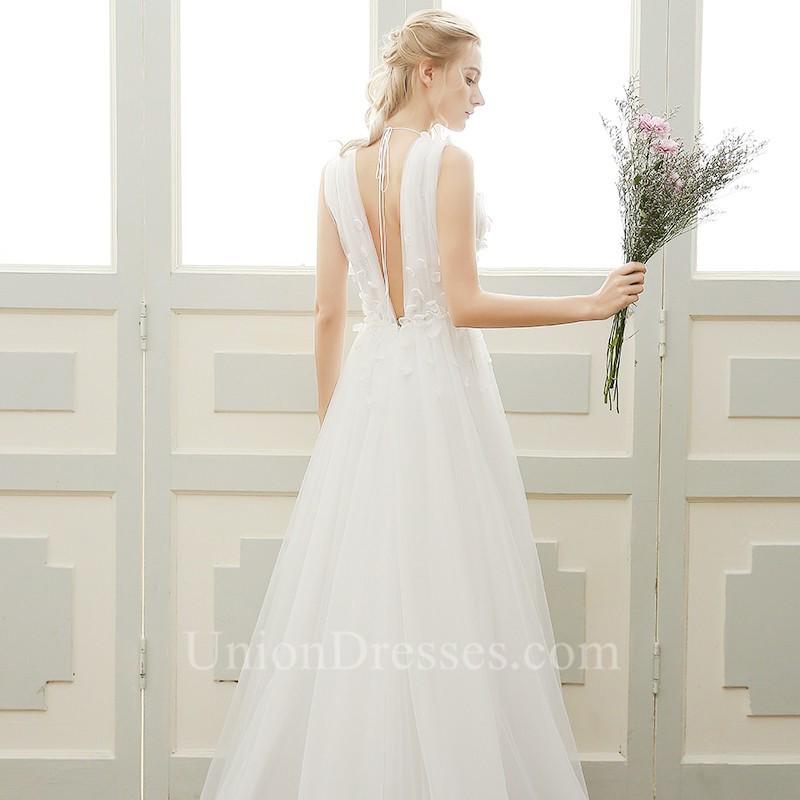 Lovely Deep V Neck Low Back Tulle Petal Boho Garden Wedding Dress