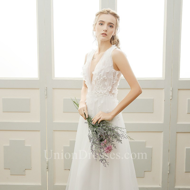 c4d187c16a Lovely Deep V Neck Low Back Tulle Petal Boho Garden Wedding Dress lightbox  moreview · lightbox moreview · lightbox moreview · lightbox moreview
