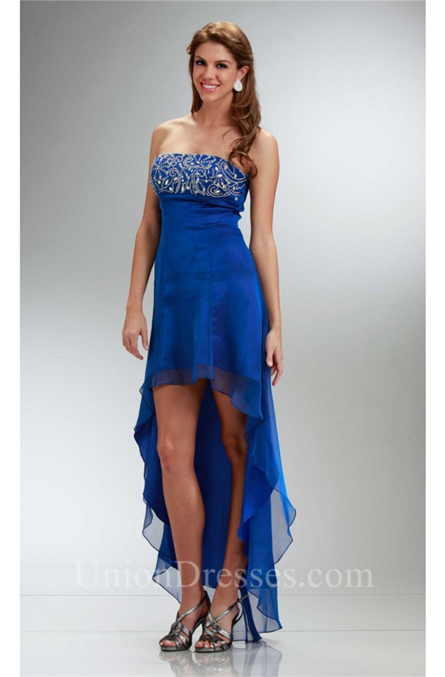 2d526fe26d2 lightbox moreview · Lovely High Low Strapless Empire Waist Royal Blue  Chiffon Party Prom Dress