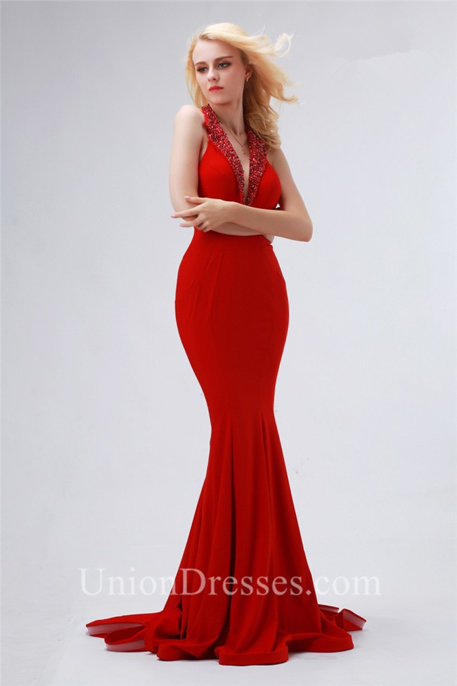 Mermaid Halter Plunging Neckline Long Red Jersey Beaded Occasion ...