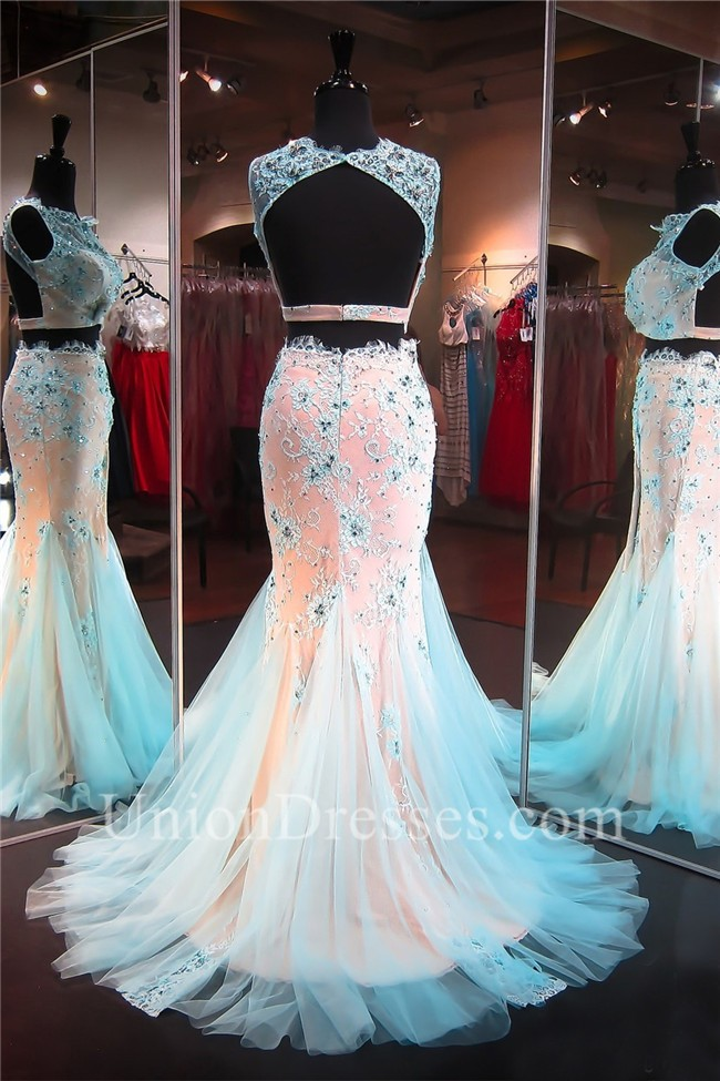 Mermaid High Neck Open Back Light Blue Tulle Lace Two Piece Prom Dress