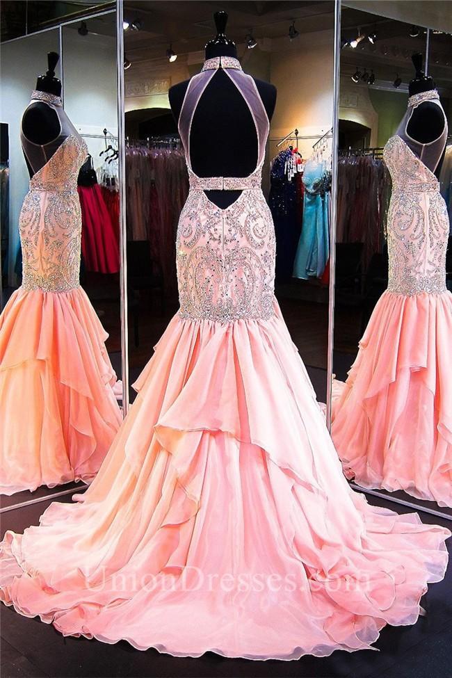 Excelente Peach Mermaid Prom Dress Componente - Ideas de Estilos de ...