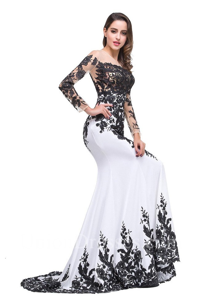 Mermaid Illusion Neckline Long Sleeve Black And White Satin Lace