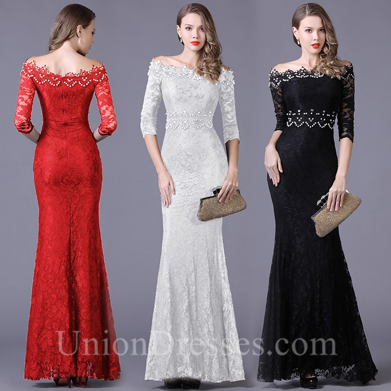 1d04fcc25f7 Mermaid Off The Shoulder Black Lace Beaded Special Occasion Evening ...