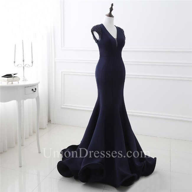 Mermaid Plunging Neckline Cap Sleeve Backless Navy Blue Evening Prom ...