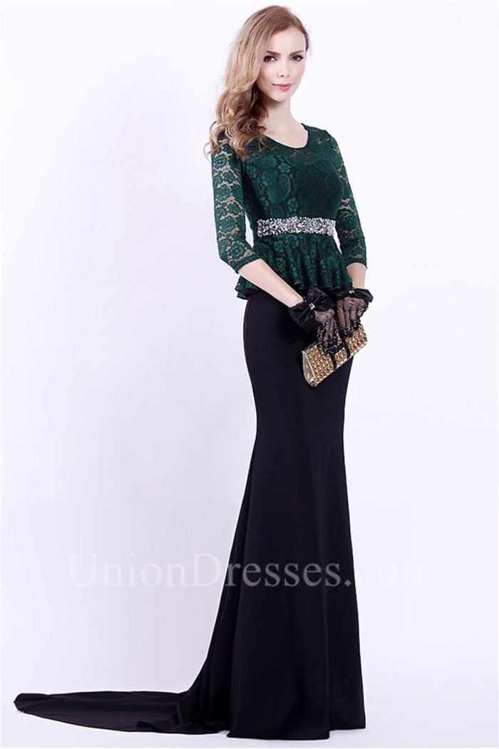 Mermaid Scoop Neck Black Satin Dark Green Lace Peplum Evening Dress ...