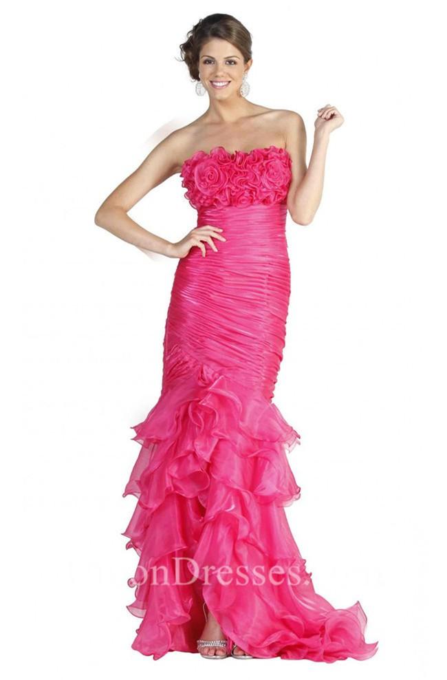 Pink Ruffle Prom Dress