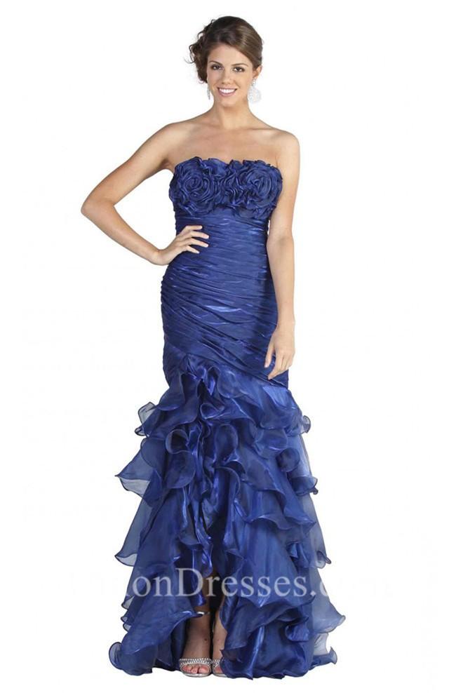 Mermaid Strapless High Slit Burgundy Organza Ruffle Prom Dress
