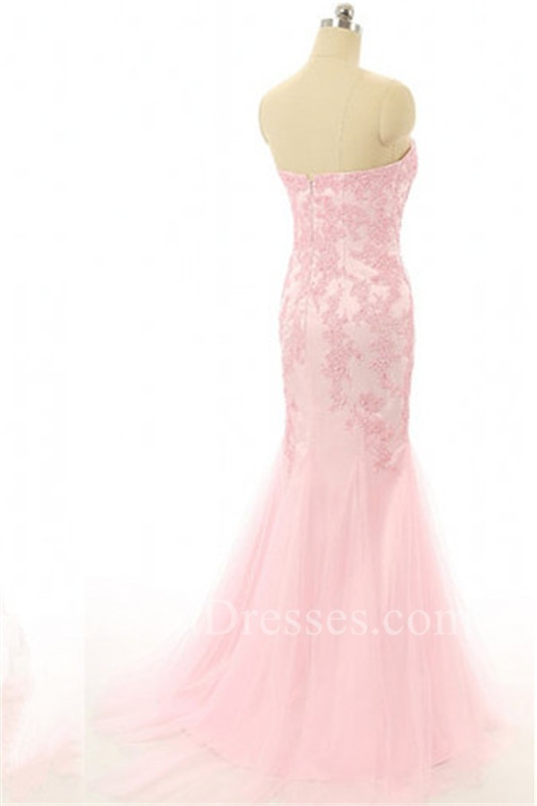 Mermaid Strapless Light Pink Tulle Lace Prom Dress With Bolero Jacket