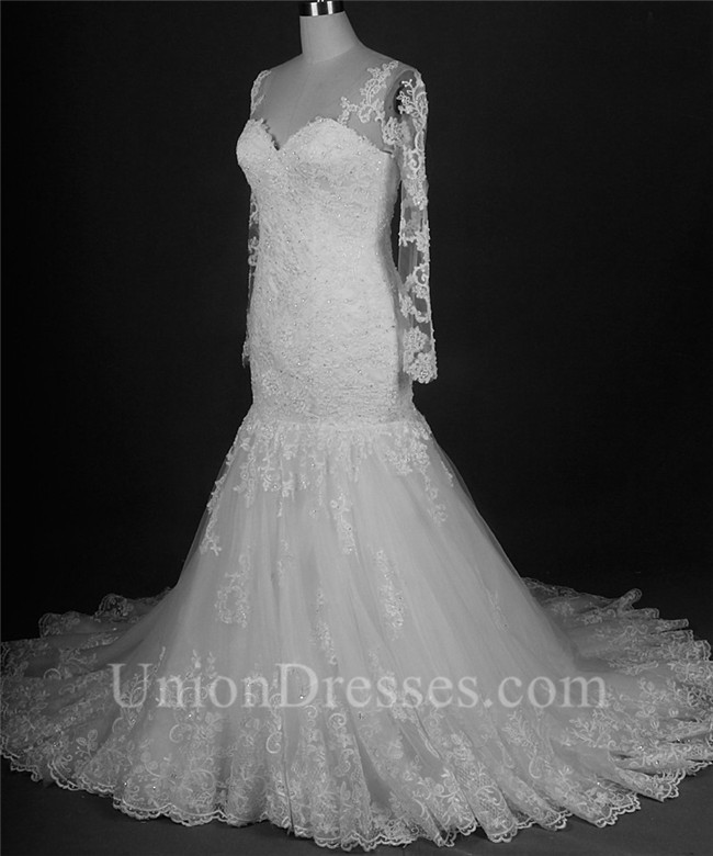 Mermaid sweetheart long sleeve vintage lace beaded wedding for Lace sleeve corset wedding dress