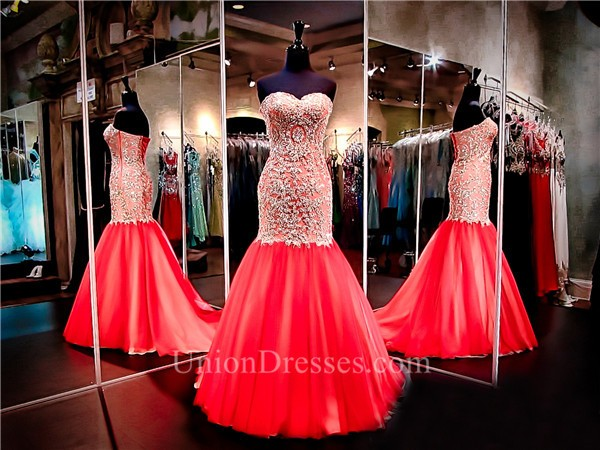 7c7abdc40af Mermaid Sweetheart Red Tulle Gold Lace Applique Beaded Prom Dress Corset  Back lightbox moreview · lightbox moreview