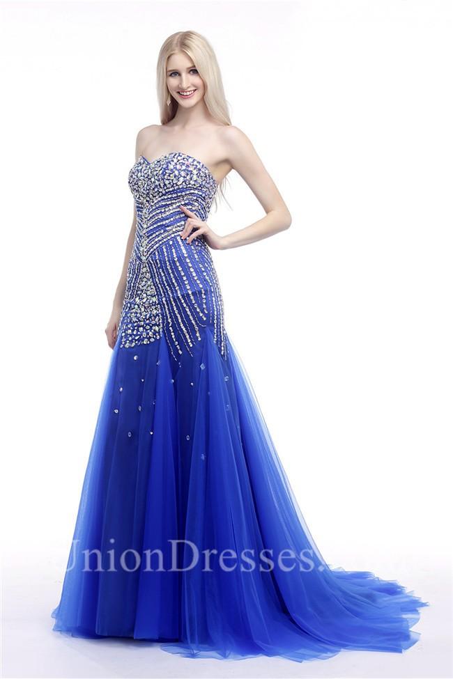 Mermaid Sweetheart Royal Blue Tulle Rhinestone Beaded Pageant Prom Dress