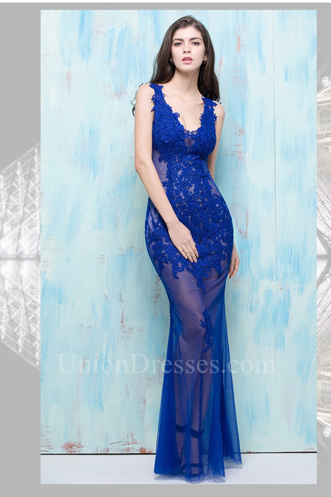 mermaid v neck open back sheer see through royal blue tulle lace