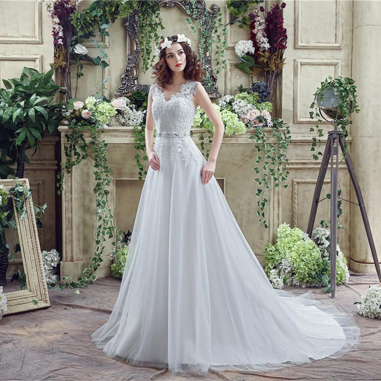 Modest A Line V Neck Full Back Tulle Lace Applique Wedding Dress ...