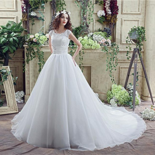Simple Long A Line Cap Sleeve Train Lace Wedding Dresses: Modest Ball Gown Scalloped Neck Cap Sleeve Organza Lace
