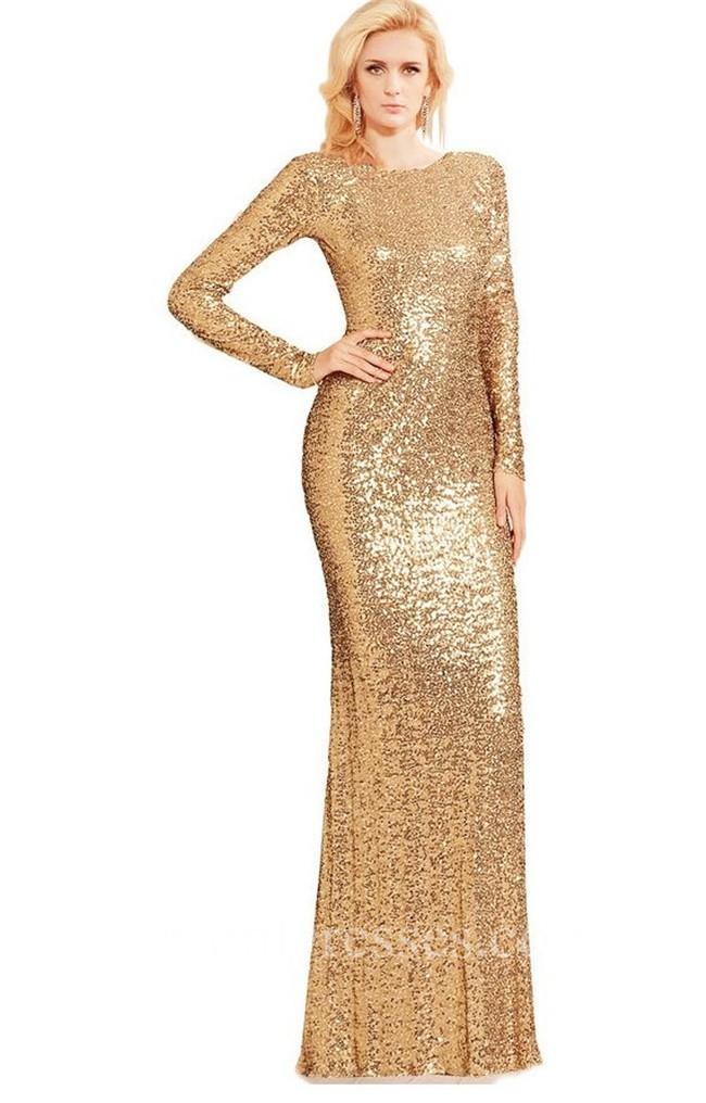 Modest High Neck Long Sleeve Black Sequin Evening Prom Dress
