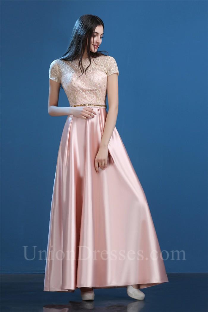 Modest Sheath Long Blush Pink Silk Satin Lace Evening Prom