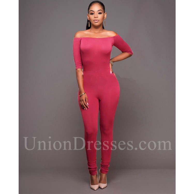 4046a69f93f1 Off The Shoulder Casual Bodycon Rompers Women Jumpsuit With Sleeves