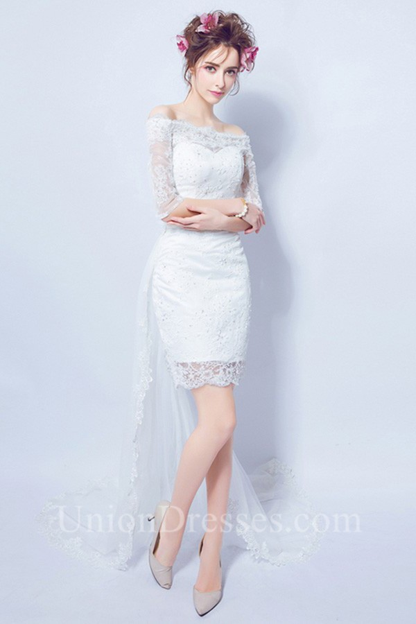 b32b5a4533b Off The Shoulder Half Sleeve High Low Lace Beach Outdoor Wedding Dress  lightbox moreview · lightbox moreview