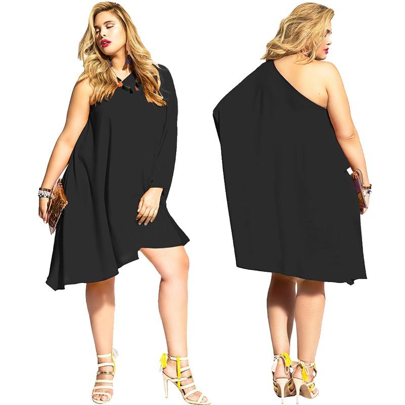 One Shoulder Sleeve Short Black Plus Size Women Dress