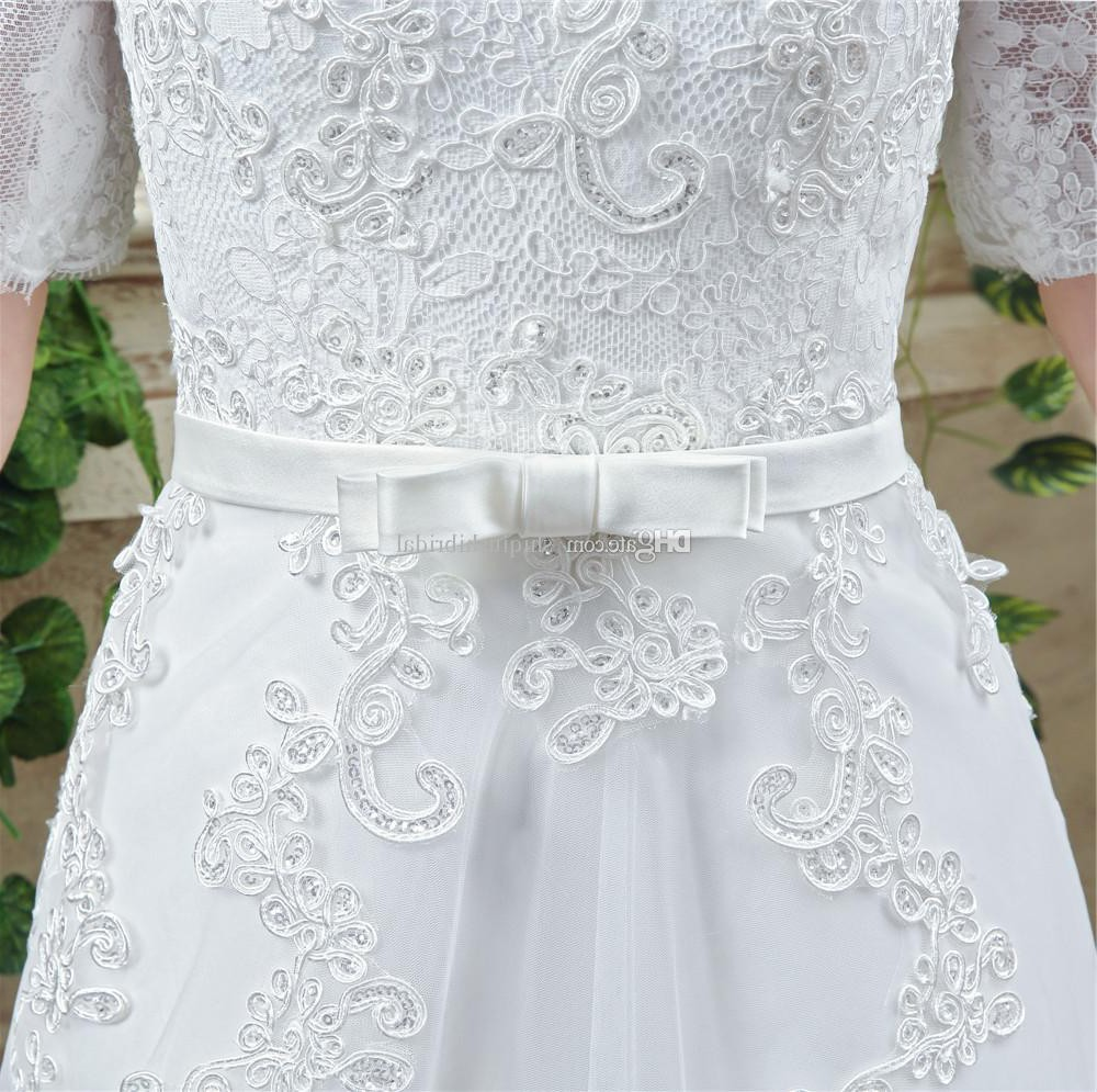 Princess A Line Off The Shoulder Short Lace Sleeve Corset Wedding ...