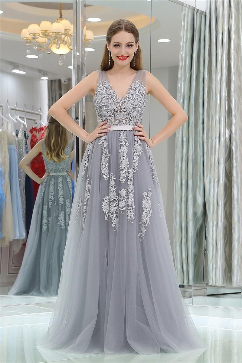 Princess A Line V Neck Long Silver Tulle Lace Prom Dress ... Lace Prom Dresses