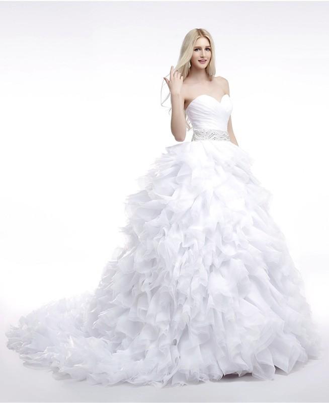 Ruffle Ball Gown Wedding Dress: Princess Ball Gown Sweetheart Tulle Ruffle Wedding Dress