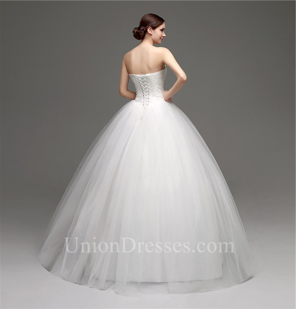 Puffy Ball Gown Sweetheart Drop Waist Tulle Lace Wedding Dress ...