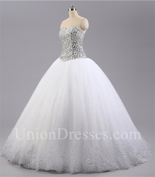 Puffy Ball Gown Sweetheart Tulle Crystal Beaded Sparkly Wedding Dress