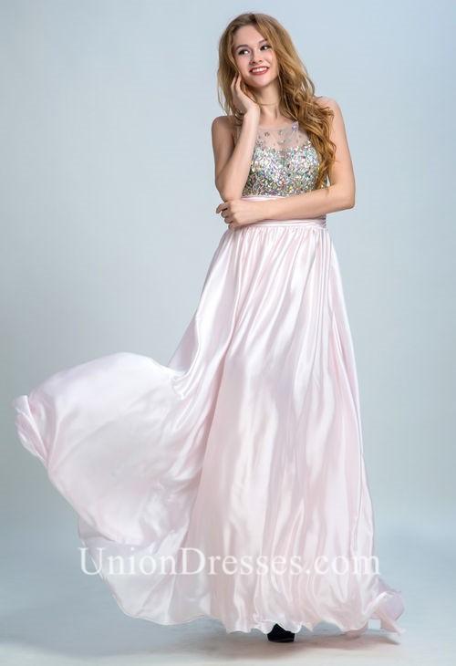 5f6a11f3de0a Round Neck Sheer Back Sleeveless Light Pink Chiffon Beaded Prom Dress  lightbox moreview · lightbox moreview · lightbox moreview · lightbox  moreview