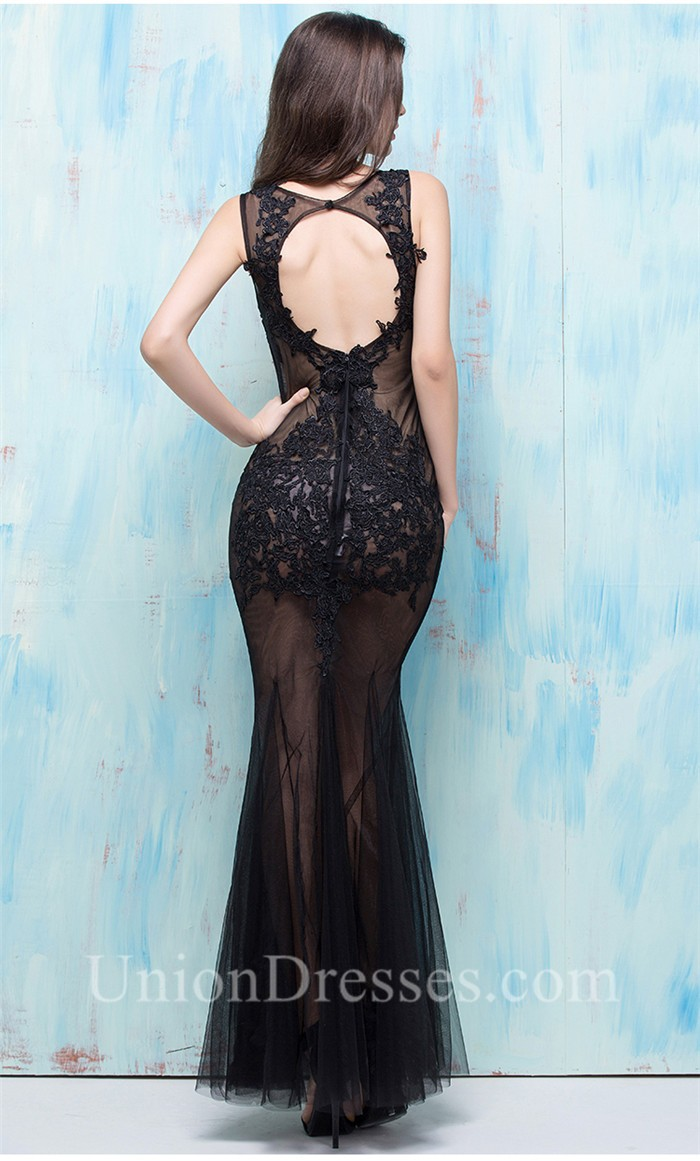 Sexy Deep V Neck Keyhole Open Back Black Tulle Lace Special ...