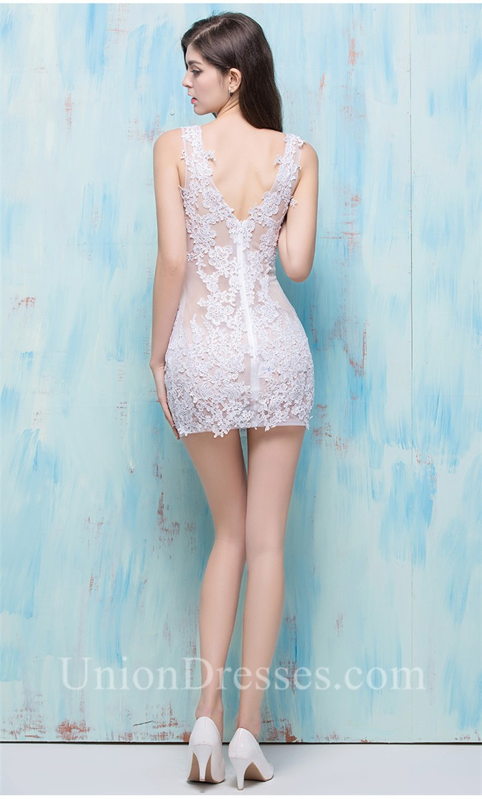 Sexy Deep V Neck Mini White Lace See Through Night Out Club Prom Dress