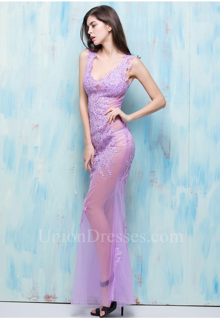 Sexy Deep V Neck Open Back Lilac Tulle Lace Sheer Illusion Special ...