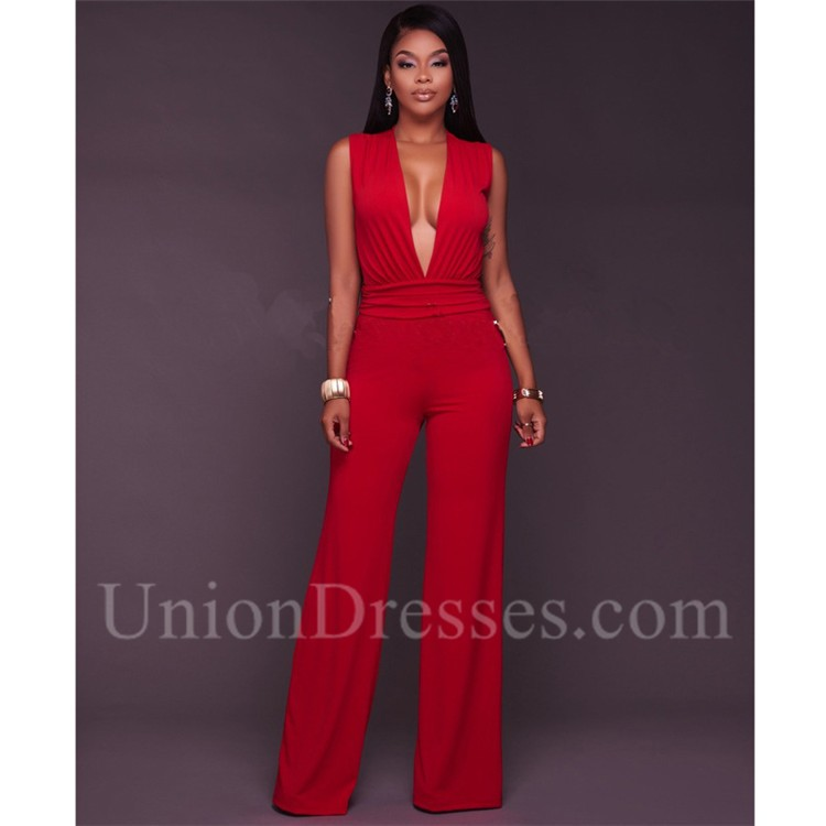 12101c3c7d98 Sexy Deep V Neck Sleeveless Wide Legged Pants Rompers Women Jumpsuit