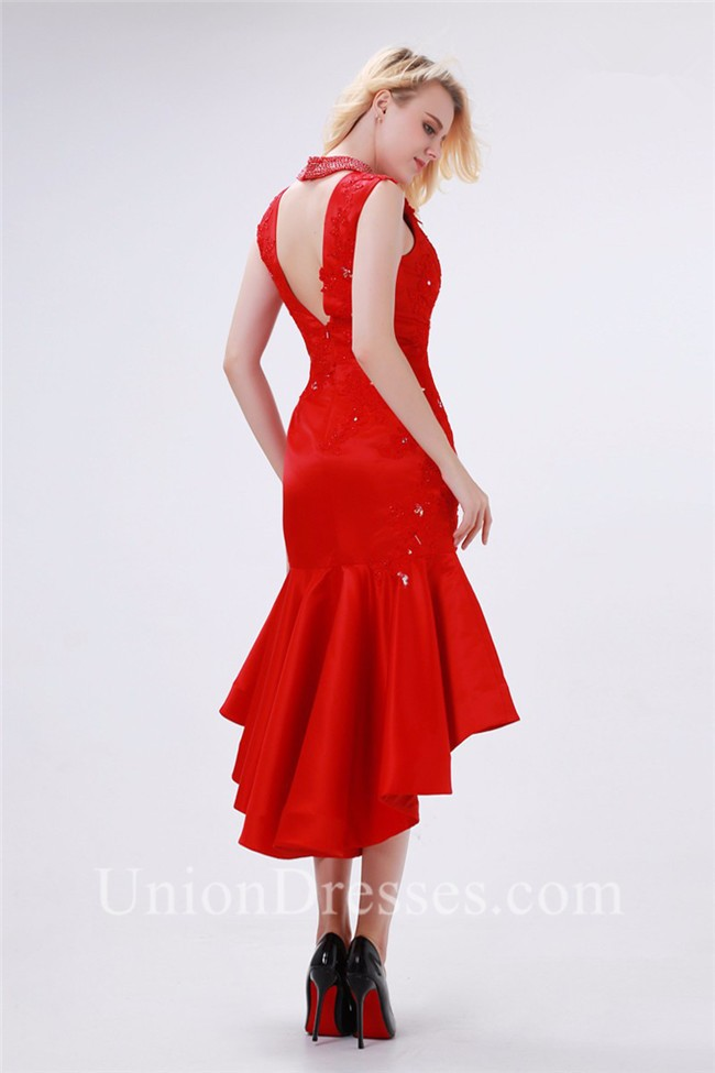 f21509d7bcb lightbox moreview · Sexy Fitted Cutout Tea Length Red Taffeta Applique  Beaded Prom Dress lightbox moreview
